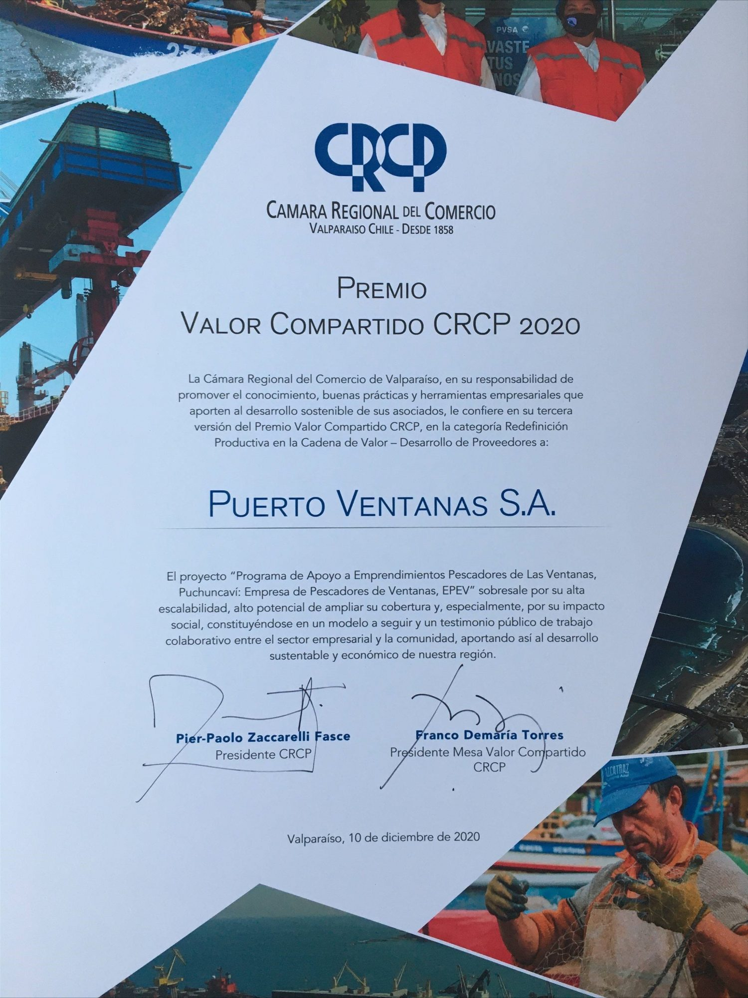 Puerto Ventanas es reconocido con el premio Valor Compartido 2020 otorgado por la CRCP